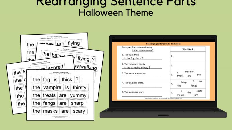 Rearranging Sentence Parts – Halloween Theme