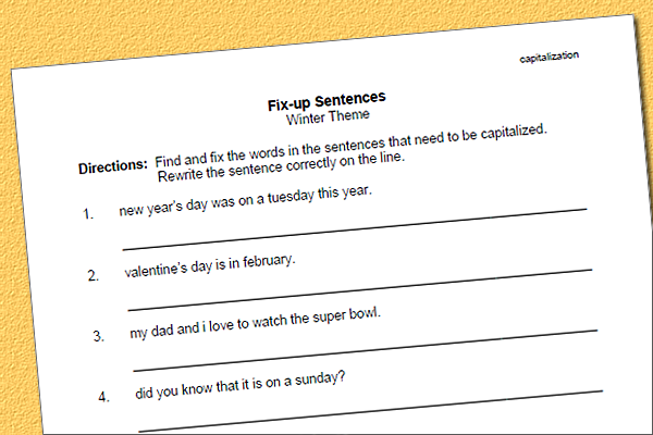 Capitalization Fix Up Worksheet – Winter Themed Sentences