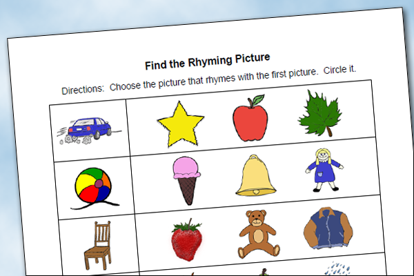 Find the Rhyming Pictures Worksheet