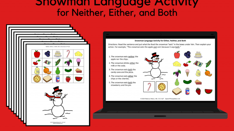 Snowman Activity – Neither, Either, And Both