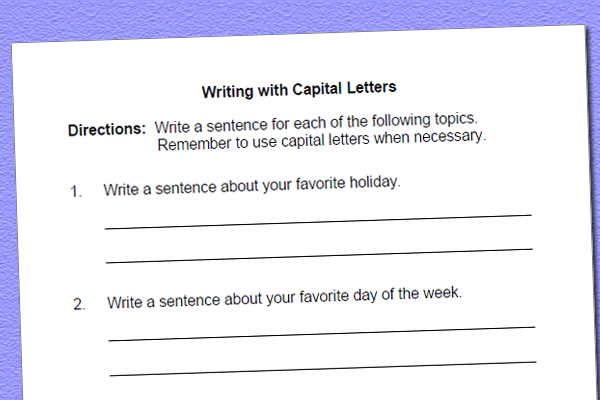 Language Worksheet for Using Correct Capitalization