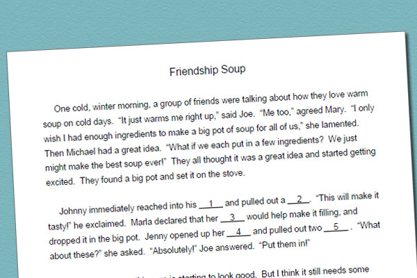 Fill-in Story For Singular And Plural Nouns: Friendship Soup