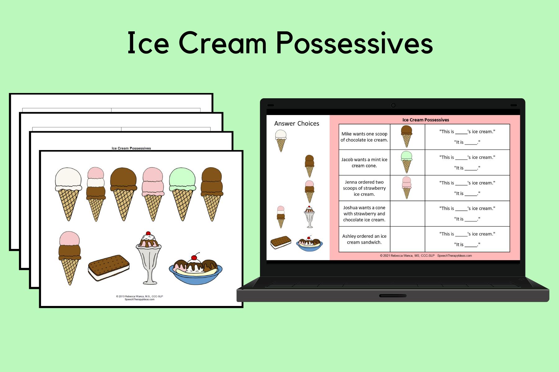 Ice Cream Possessives Activity
