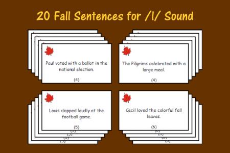 Fall Sentences for /l/ Sound