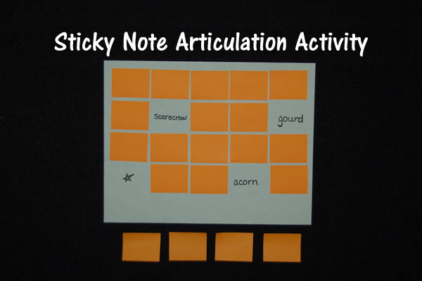 Sticky Note Articulation Activity