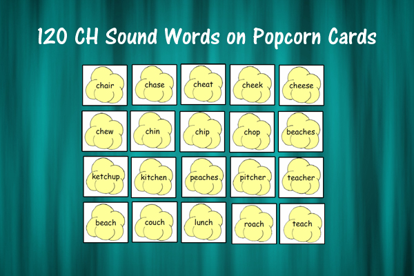 120 CH Sound Words On Popcorn Cards