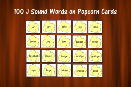 100 J Sound Words on Popcorn Cards