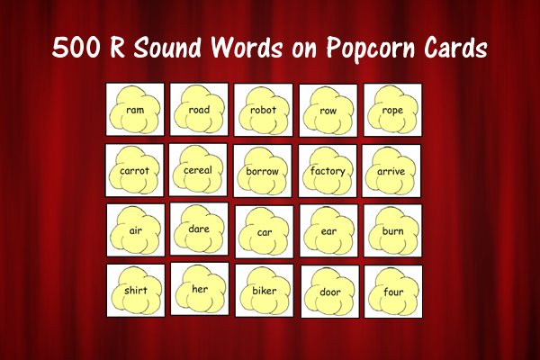 500 R Sound Words On Popcorn Cards