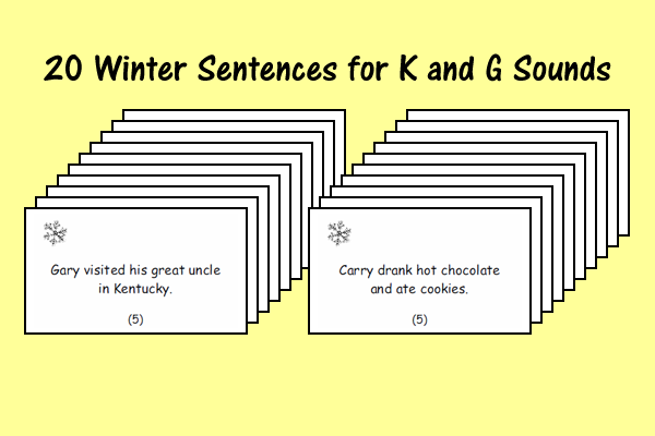 Winter Sound Sentences for K and G Sounds