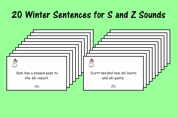 Winter Sentences for S and Z Sounds