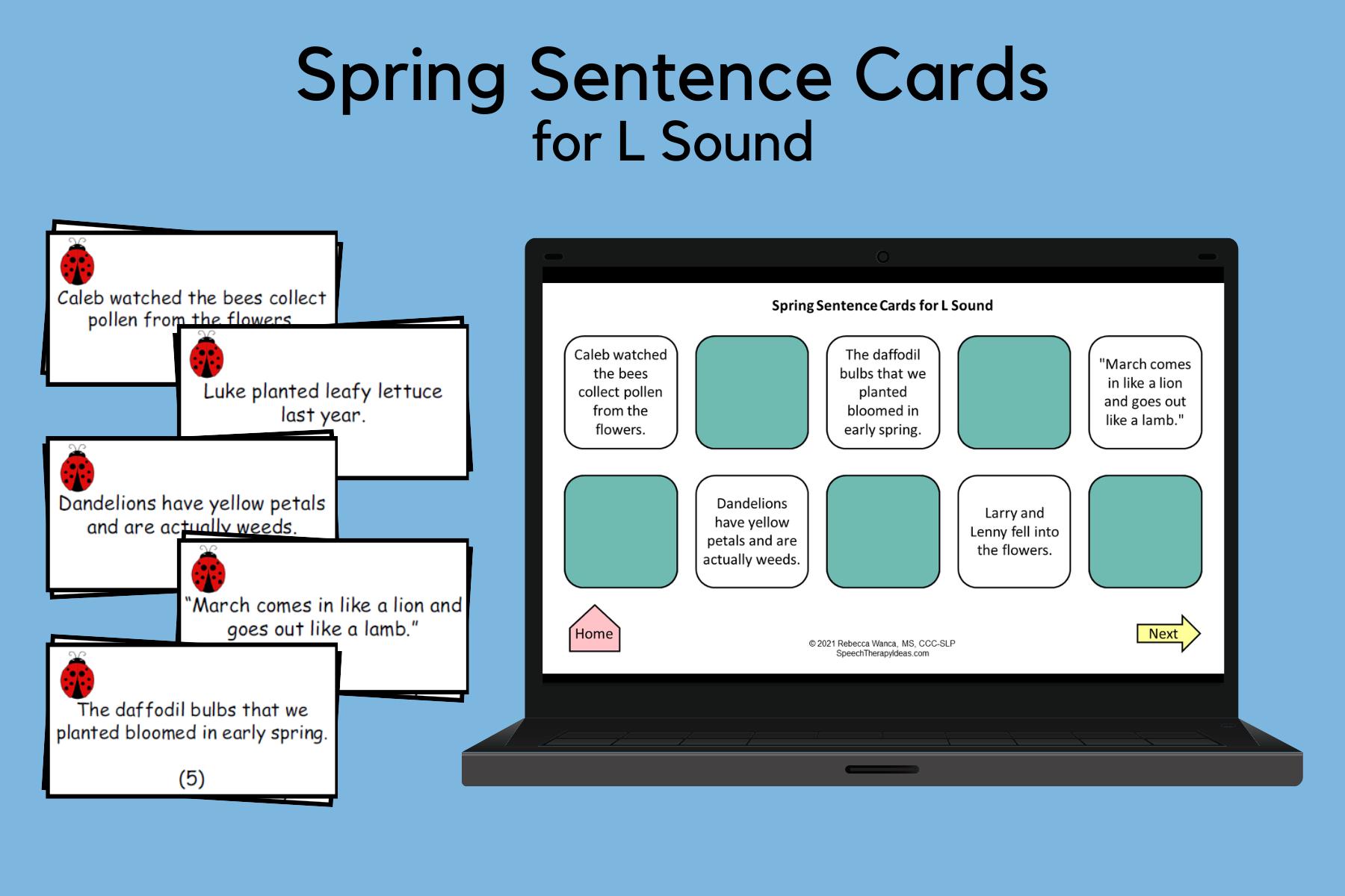 Spring Sentences for L Sound