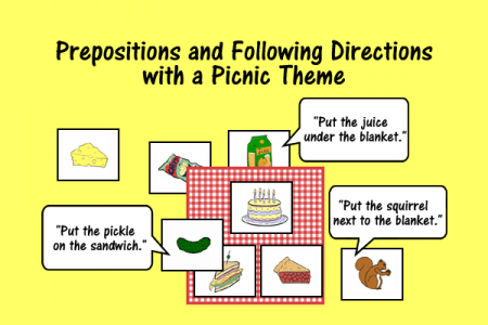 Prepositions and Following Directions with a Picnic Theme