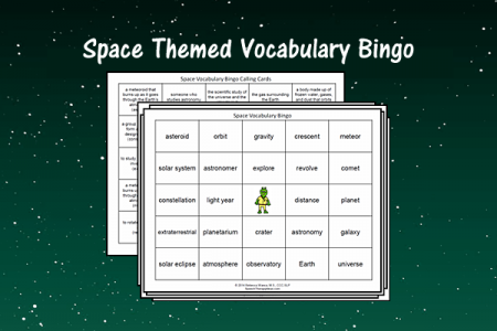 Space Themed Vocabulary Bingo