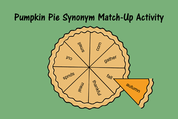 Pumpkin Pie Synonym Match Up Activity