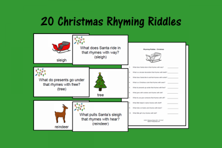 Christmas Riddles.Christmas Rhyming Riddles Speech Therapy Ideas