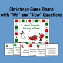 """Christmas Game Board With """"Wh"""" And """"How"""" Questions"""