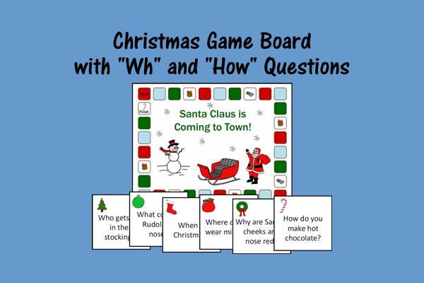 "Christmas Game Board With ""Wh"" And ""How"" Questions"