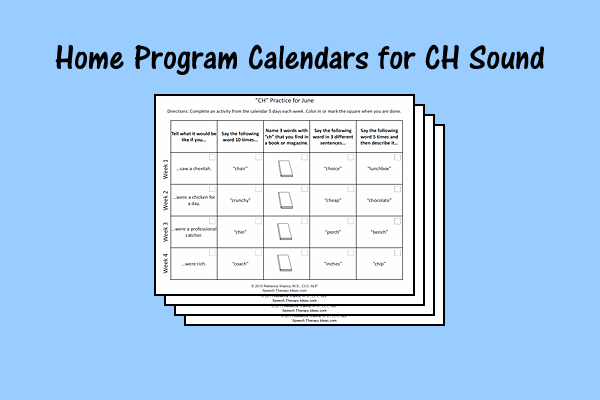 "Home Program Calendars for ""CH"" Sound"