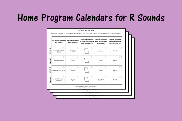 Home Program Calendars for R Sounds