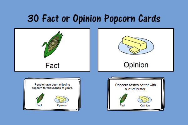 Fact or Opinion Popcorn Cards
