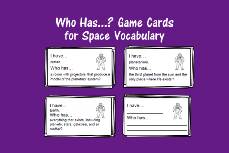 Who Has...? Game Cards for Space Vocabulary