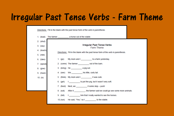 Irregular Past Tense Verbs – Farm Theme