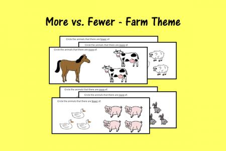 More vs. Fewer - Farm Theme