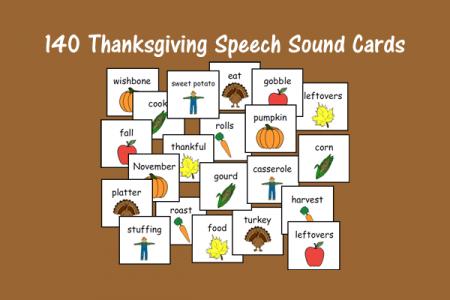 140 Thanksgiving Speech Sound Cards