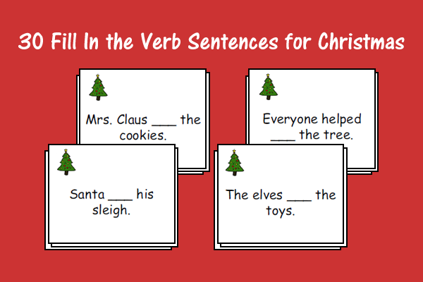 Fill In Verb Sentences Christmas