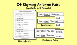 24 Rhyming Antonym Pairs
