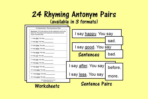 Rhyming Antonym Pairs