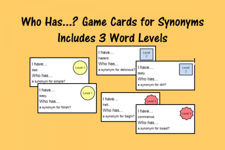 Who Has...? Game Cards for Synonyms