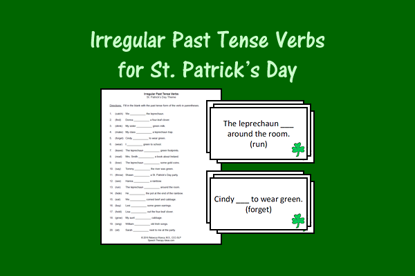 Irregular Past Tense Verbs For St. Patrick's Day