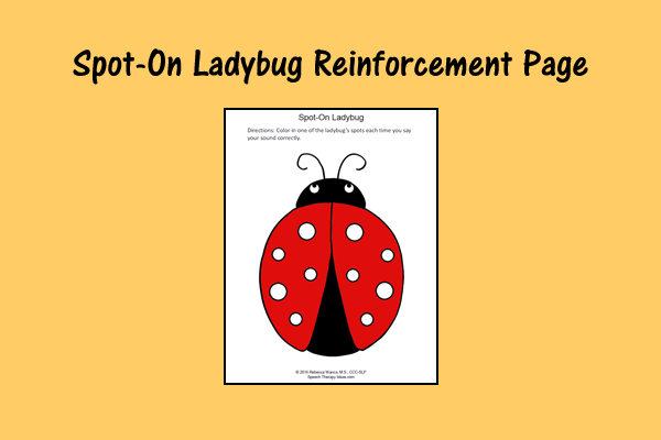 Spot-On Ladybug Reinforcement Page
