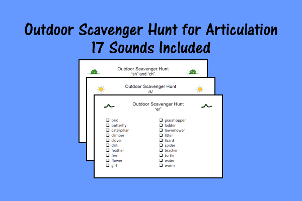 Outdoor Scavenger Hunt for Articulation