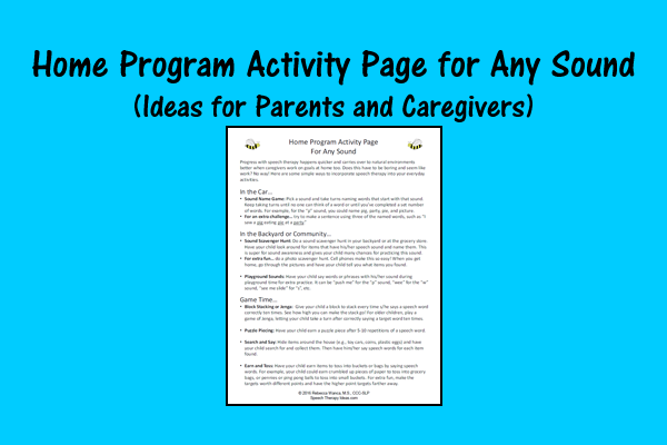 Home Program Activity Page For Any Sound – Ideas For Parents And Caregivers