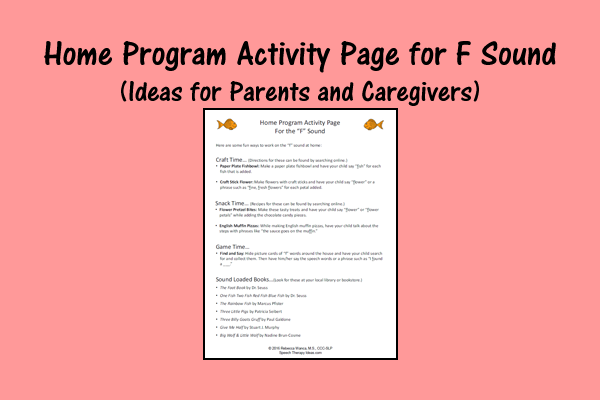 Home Program Activity Page For F Sound – Ideas For Parents And Caregivers