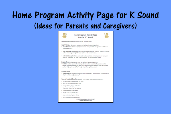 Home Program Activity Page For K Sound – Ideas For Parents And Caregivers