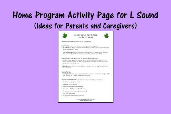Home Program Activity Page For L Sound – Ideas For Parents And Caregivers