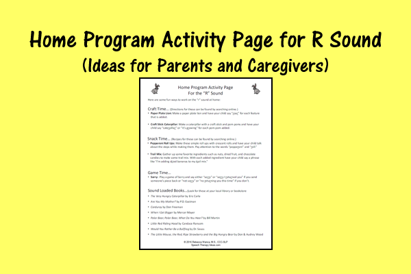 Home Program Activity Page for R Sounds - Ideas for Parents and Caregivers