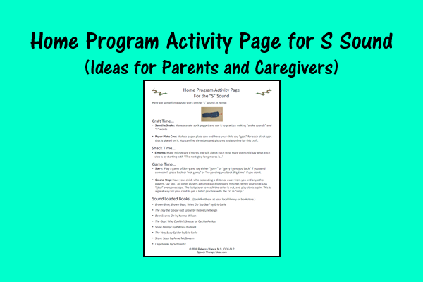 Home Program Activity Page For S Sound – Ideas For Parents And Caregivers