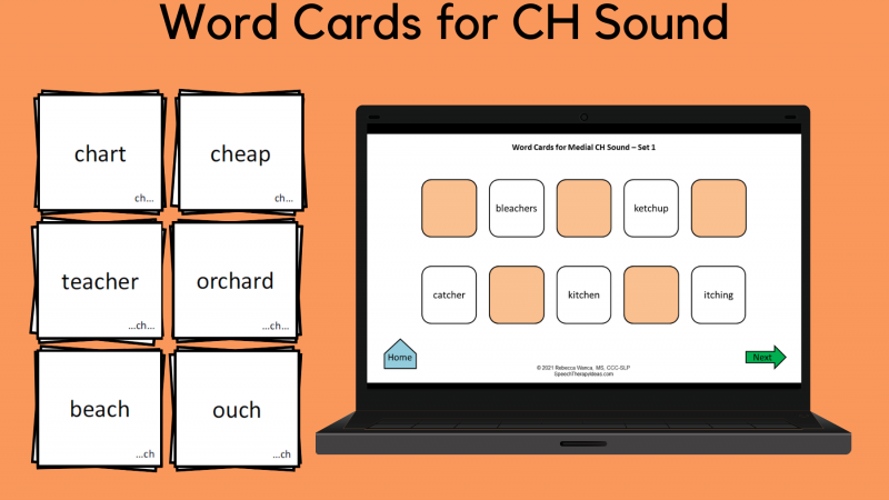 Word Cards For CH Sound