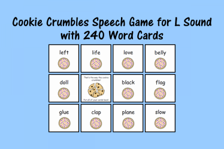 Cookie Speech Sound Cards for L Sound with 240 Word Cards