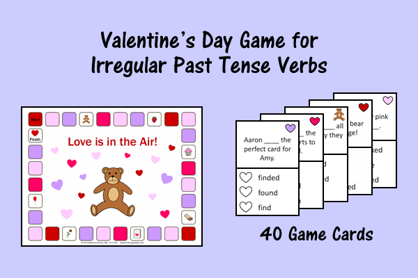 Valentine's Day Game For Irregular Past Tense Verbs