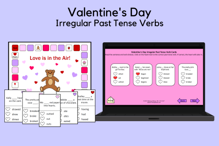Valentine's Day Irregular Past Tense Verb Cards