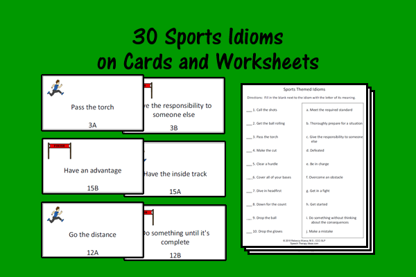Sports Theme Idiom Cards and Worksheets