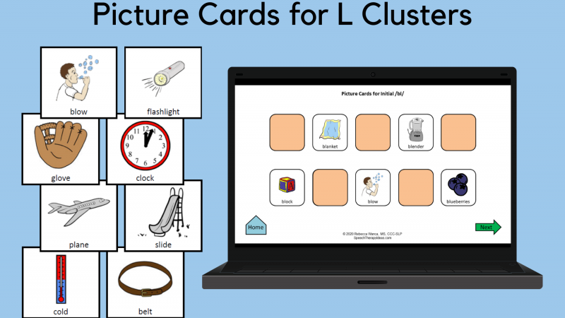 Picture Cards For L Clusters