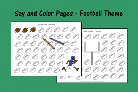 Say and Color Pages - Football Theme