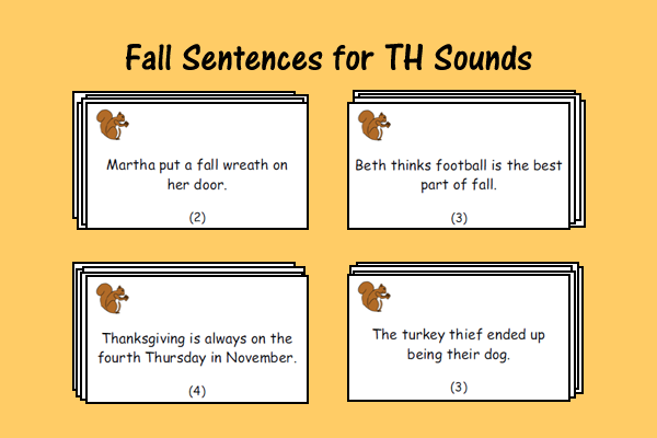 Fall Sentences For TH Sounds