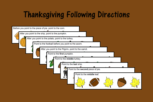 Thanksgiving Following Directions Activity